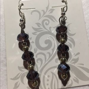Dark purple bead earrings